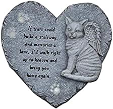"""G-mart Garden Cat Memorial Painted Polystone :Love Heart Shape Stepping Stone and Wall Plaque, The Paws Glow in The Dark - 12""""W x 1""""D x 12""""H"""
