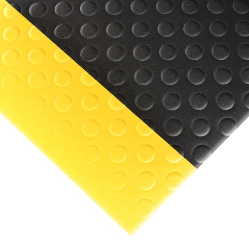 "NoTrax 417 Bubble Sof-Tred Safety/Anti-Fatigue Mat with Dyna-Shield PVC Sponge, for Dry Areas, 3' Width x 6' Length x 1/2"" Thickness, Black/Yellow"