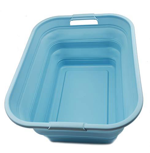 SAMMART Collapsible Plastic Laundry Basket - Foldable Pop Up Storage ContainerOrganizer - Portable Washing Tub - Space Saving HamperBasket 1 Sea Angel