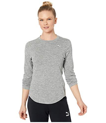 PUMA - Camiseta de Manga Larga para Mujer, Arcilla, Gris Jaspeado (Medium Gray Heather), L