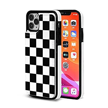 Black White Checkered Flag Cute Case for iPhone 11 Leather Wallet with Card Holder for Women Men