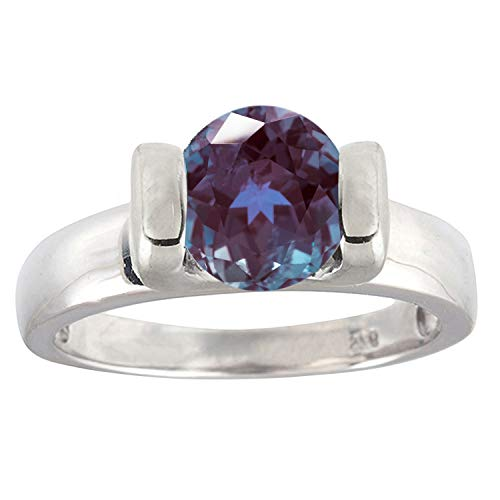 Sterling Silver with Color Changing Blue Alexandrite Solitaire Ring