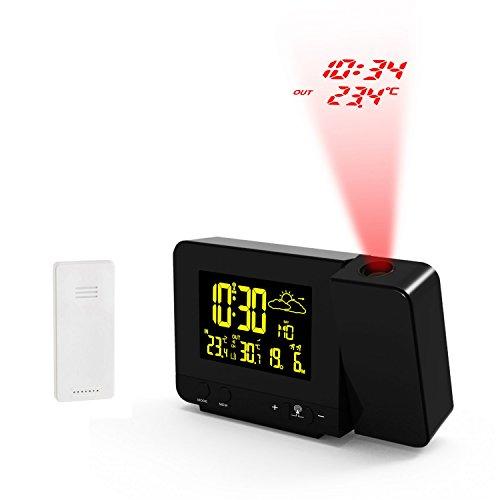 Meteo SP66 Funk Wetterstation mit Projektionsanzeige und Außensensor Wecker Kalender Thermometer Wettervorhersage Alarm DCF (Schwarz)