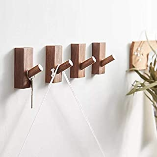HomeDo Wall Hooks Hat Rack, Wooden Coat Hooks Wall Mounted, Decorative Hooks Single Organizer Hat Hanger Towel Rack, Heavy Duty Hooks (Rectangle-Black Walnut-4Pack)