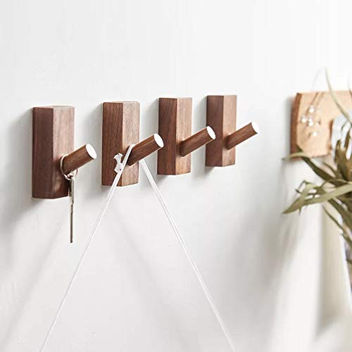 HomeDo Wood Wall Hooks Hat Rack Wooden Coat Hooks Wall Mounted Decorative Hooks Single Organizer Hat Hanger Towel Rack Heavy Duty Hooks Rectangle-Walnut-4Pack