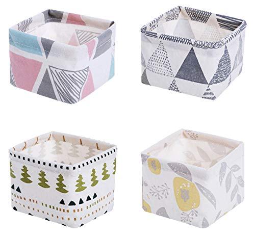 ASFINS Mini Wickeltisch Organizer, 2 Stück Aufbewahrungskorb Kinder Stoffaufbewahrungskörbe Aufbewahrungsbox, Leinen und Stoff Boxen (Mini Größe:12 x 12 x 8,5cm)