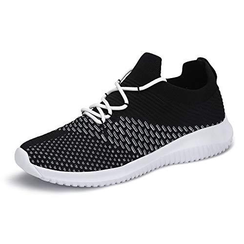 Mishansha Women's Lightweight Sport Slip On Cross Trainer Running Shoes Black 9.5 US Women