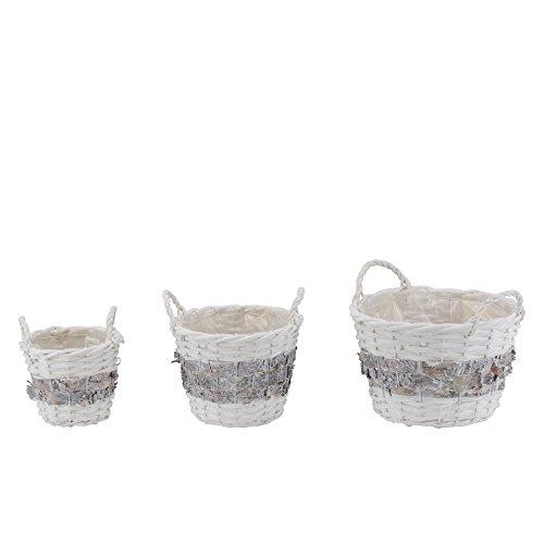 Homestyle & more Lot de 3 corbeilles rondes en osier de bouleau Blanc/gris