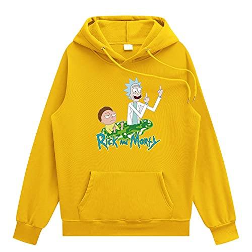 Rick y Morty 3D con capucha Hombres Mujeres Cool Streetwear Pullover Sudadera de manga larga,Amarillo,S