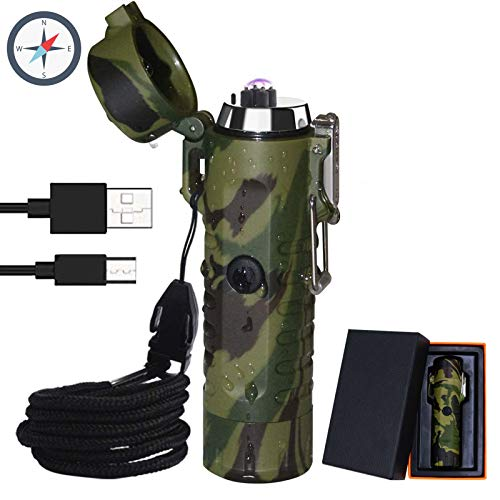 Electric Lighter (Rechargeable),3 in 1 Windproof Plasma Lighter with Tactical Flashlight & Compass,Portable Flameless Arc Lighters for Camping Hiking Outdoor Adventure Survival Tactical