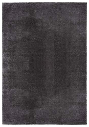 Mia´s Teppiche Olivia Alfombra de salón de Pelo Corto Suave (19 mm), Antideslizante, 100% poliéster, Antracita, 80 x 150 cm