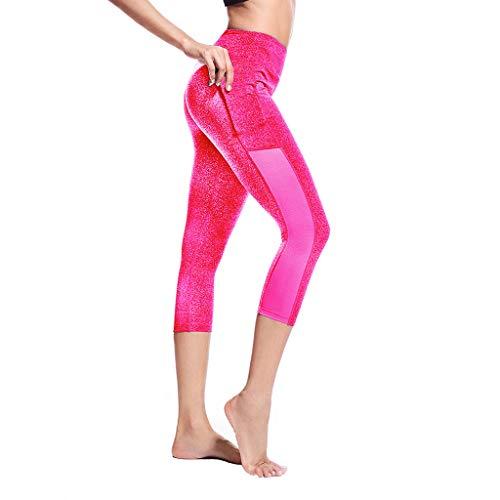 ZZBO Damen Yoga Leggings Laufhose Skinny Leggins Lang Sporthose Stretch und Hohe Taille Capri Leggins 3/4 Length Fitnesshose für Butt...
