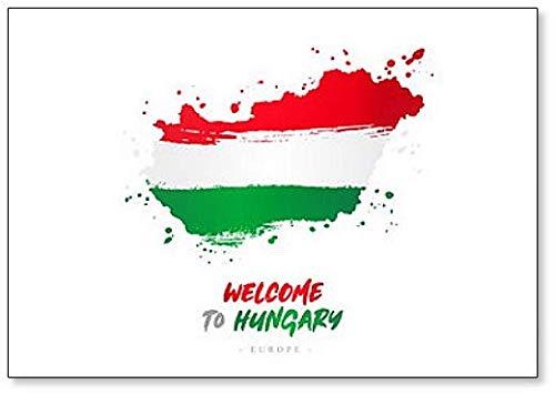 Welkom in Hongarije. Vlag en kaart. - Koelkast magneet