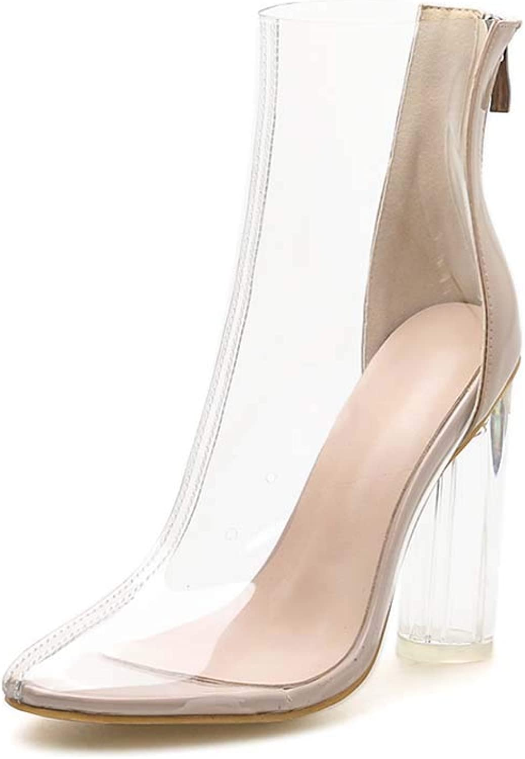 Womens Transparent mid shoes, Crystal Heel with Single Boots Round Head with high Heels