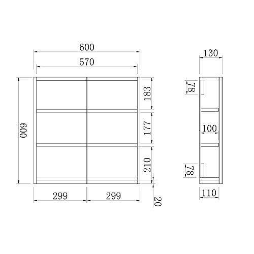 AICA Spiegelschrank Weiß 60 cm breit Wandspiegel Hängeschrank mit DREI Schichte 4
