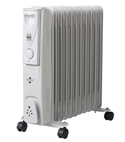 Highlands Oil filled radiator electric 2500W Adjustable Thermostat 11 Fin on castors