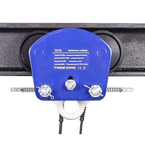 Elektrische Laufkatze Krankatze Rollfahrwerk Handfahrwerk   Tragkraft: 1000 kg   Flanschbreite: 68-110 mm   Eigengewicht: 15 kg
