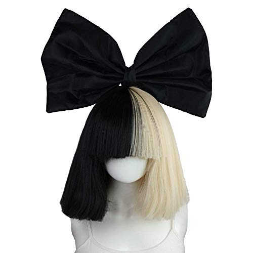 EpicCosplay: Officially Licensed Sia Costume Wig Includes Black Bow Tie for Women and Teens