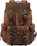 Leather Backpack for Men,HuaChen Waxed Canvas Shoulder Rucksack for Travel Laptop School Hiking...