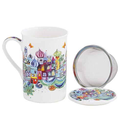 Aromas de Té - Taza de Té con Filtro y Tapa/Tisana Infusiones y tes de Porcelana con Infusor de Acero, Diseño Estambul