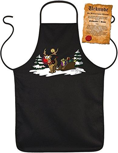 Rentier Weihnachtsschürze - Kochschürze Weihnachten Geschenk-Idee : Rudolph The rednosed Reindeer - Weihnachtsmarkt Schürze Glühweinstand + lustige Urkunde