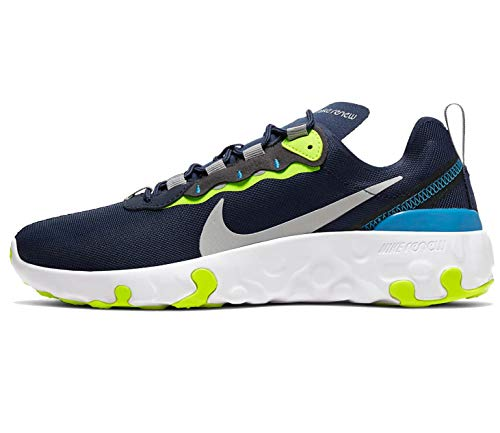 Nike Renew Element 55 (GS), Chaussure de Course Homme, Midnight Navy/Lt Smoke Grey-Lemon Venom, 38 EU