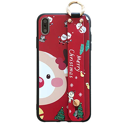 Topwin iPhone Xs Max Christmas Case,Cute Cartoon Snowman Bear Santa Elk Pattern on Soft Silicone Gel Rubber with Adjustable Wrist Strap for Apple iPhone Xs Mas 6.5'' (Red)