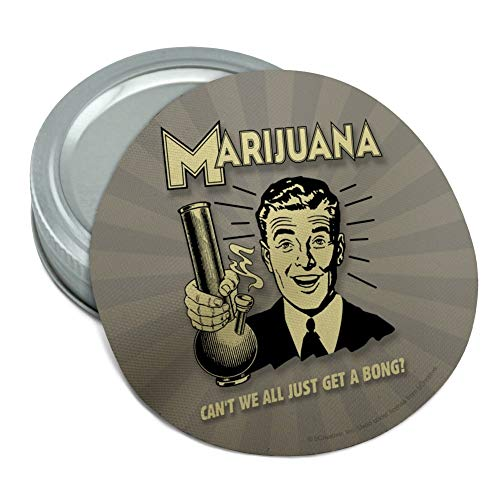 Marijuana Can't We All Just Get a Bong Funny Humor Retro Round Rubber Non-Slip Jar Gripper Lid Opener