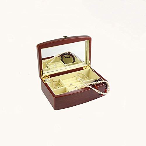 DXX-HR elemento de almacenamiento de madera de Brown retro joyería caja de almacenamiento de los pendientes del collar de la caja cosmética mamá regalo de la abuela Mujer Espejo tres capas portátil