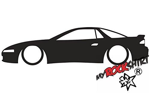myrockshirt 2X Aufkleber Low Mitsubishi 3000GT GTO VR4 Outline Silhouette stickerdecal Low Lowered Tiefer Tiefergelegt `+ Bonus Testaufkleber Estrellina-Glückstern ®, gedruckte Montageanleitung