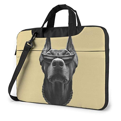 XCNGG Doberman with Sunglasses Laptop Bag Shockproof Briefcase Tablet Carry Handbag for Business Trip Office 15.6 inch