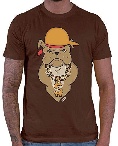 HARIZ Herren T-Shirt Bulldodge Rapper Hund Frauchen Plus Geschenkkarte Braun M