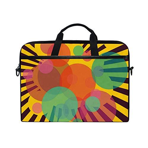 FOURFOOL 15-15.6 inch Laptop Bag,Retro Circular Figures Stripes Print,New Canvas Print Pattern Briefcase Laptop Shoulder Messenger Handbag Case Sleeve