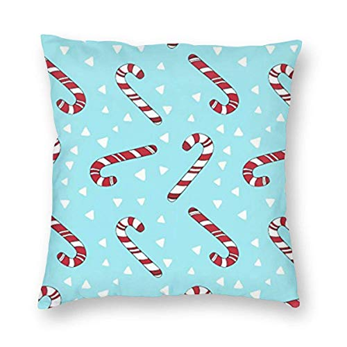 Lsjuee Christmas Candy Canes Holiday Home Decor Throw Pillow Cover, Lightweight Soft Plush Square Decorative Pillow Case 18x18 Inch Cushion Cover, Sham Stuffer, Machine Washable