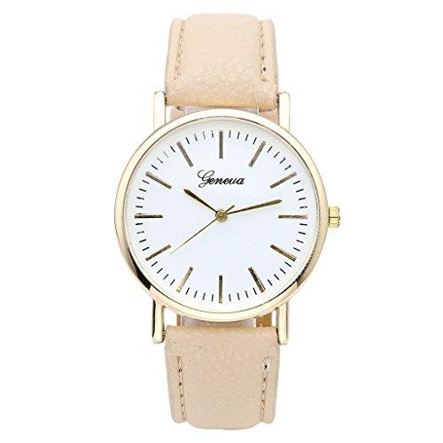 JSDDE Uhren,Elegant Genf Damen Armbanduhr Faux Lederarmband Damenuhr Gold Business Analog Qaurzuhr,Beige