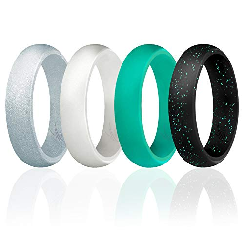 Silicone Wedding Ring For Women By Roq Set Of 4 Silicone Rubber Wedding Bands Black With Glitter Sparkle Teal Teal Turquoise White Metal Look Silver Size 6