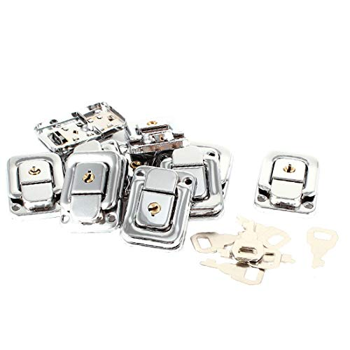 New Lon0167 10 Pcs Featured Silver Tone Spring Reliable Efficacy Loaded Case Boxes Chest Toggle Catch Latch w Keys(id:805 ff c8 96d)