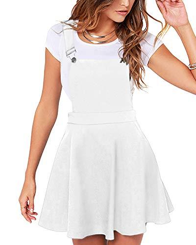 YOINS Rock Damen Mädchen Minirock Kawaii A Linie Mini Skater Rock Kleider für Damen Minikleid Skaterkleid,Pinafore Kleid-weiß,S