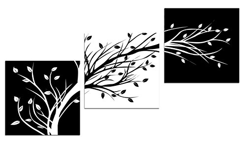 Wieco Art Leaves Modern 3 Panels Flowers Artwork Giclee Canvas Prints Black and White Abstract Floral Trees Pictures Paintings on Canvas Wall Art for Living Room Bedroom Home Decorations
