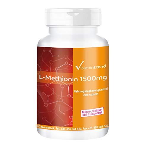L-Methionin 1500mg - 240 vegane Kapseln - Hochdosiert - Aminosäure