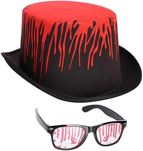 COM-FOUR® 2-delige Halloween-set bestaande uit hoed met bloedspatten en glazen met kunstbloed passend bij vele kostuums voor themafeesten, carnaval, carnaval (02 stuks - hoed/bril)