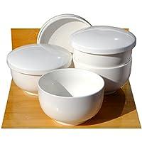 GOTO Mushi - Cuencos para Sopa (cerámica, 11 cm x 4 Unidades), Color Blanco