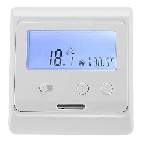 Controlador de Temperatura LCD Digital Luz de Fondo Calefacción de Piso Termostato No Programable Calefacción de Piso Eléctrica Blanco 220V