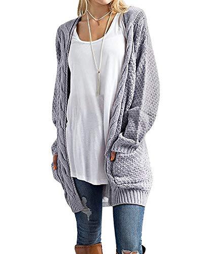 CNFIO Pullover Damen Strickjacke Lässig Casual Cardigan Langarm Outwear mit Taschen Mantel Jacke Winter Grau L