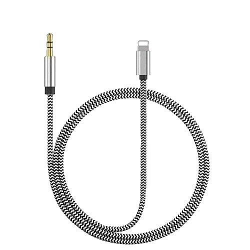[Apple MFi Certified]Aux Cord for iPhone,Lightning to 3.5mm Nylon Braided AUX Audio Music Cable Car Cord for iPhone 12/11 Pro/XS/XR/X 8 7/iPad/iPod to Car/Home Stereo,Speaker,Headphone (3.3FT,Silver)