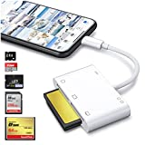 DenicMic SD CF Card Reader for iPhone iPad, 6 in 1 SD CF XD Card Reader Compact Flash Reader Camera Memory Card Reader with Charging Port Camera Accessories Compatible to SD, SDHC, SDXC, XD, TF Cards