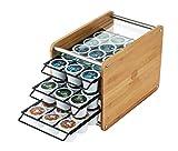 JackCubeDesign Bamboo 48 Organizador de la cápsula de café Organizador Caja de almacenamiento Soporte 3 Cajón de acero con estante de vidrio templado (18.5 x 33.5 x 21.6 cm) -: MK247A
