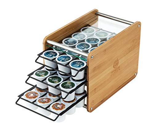 JACKCUBE DESIGN Bamboo KCup 48 Holder Organizer Coffee Pod Storage Box Drawer with Tempered Glass Shelf73 x 132 x 85 inches – :MK247A