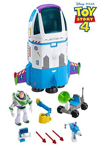 Disney Pixar Toy Story Buzz et son Vaisseau Spatial, 53 cm x 51 cm, lumières et sons, avec figurine Buzz l'Éclair et projectiles, jouet pour enfant, GJB37
