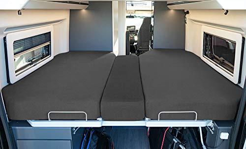 LIVING AIR Wohnmobil Spannbetttuch Set 3 teilig - 2 Längsbetten + Mittelteil - geeignet für FIAT Ducato, Citroen Jumper, Peugeot Boxer (Wohnmobile/Wohnwagen) - Spannbettlaken Heckbett (ANTHRAZIT)